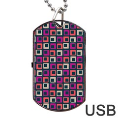 Abstract Squares Dog Tag USB Flash (Two Sides)