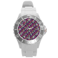 Abstract Squares Round Plastic Sport Watch (L)