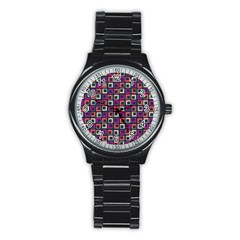 Abstract Squares Stainless Steel Round Watch