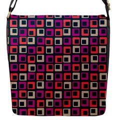 Abstract Squares Flap Messenger Bag (S)