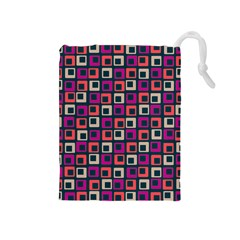 Abstract Squares Drawstring Pouches (Medium)
