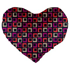 Abstract Squares Large 19  Premium Flano Heart Shape Cushions