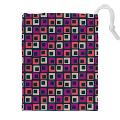 Abstract Squares Drawstring Pouches (XXL)