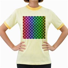 Checker Number One Women s Fitted Ringer T-Shirts