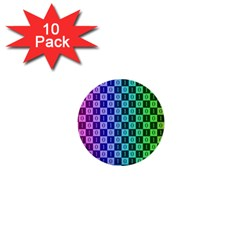 Checker Number One 1  Mini Buttons (10 pack)