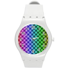 Checker Number One Round Plastic Sport Watch (M)