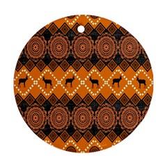 African Pattern Deer Orange Ornament (Round)
