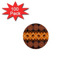 African Pattern Deer Orange 1  Mini Buttons (100 pack)