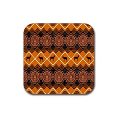 African Pattern Deer Orange Rubber Square Coaster (4 pack)