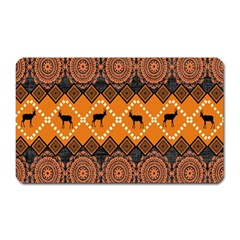 African Pattern Deer Orange Magnet (Rectangular)