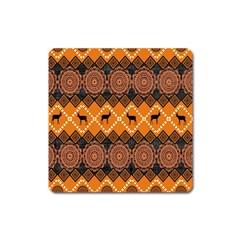 African Pattern Deer Orange Square Magnet