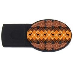 African Pattern Deer Orange USB Flash Drive Oval (1 GB)