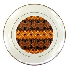 African Pattern Deer Orange Porcelain Plates