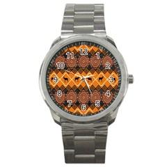 African Pattern Deer Orange Sport Metal Watch