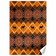 African Pattern Deer Orange Canvas 12  x 18