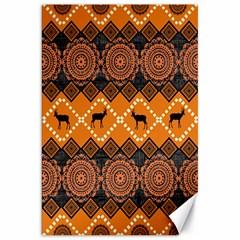African Pattern Deer Orange Canvas 20  x 30