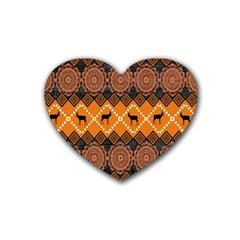 African Pattern Deer Orange Heart Coaster (4 pack)