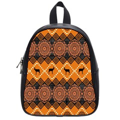 African Pattern Deer Orange School Bags (Small)