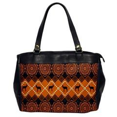 African Pattern Deer Orange Office Handbags