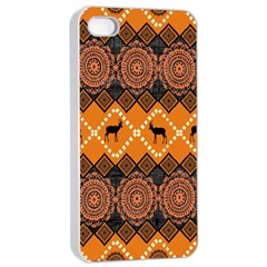 African Pattern Deer Orange Apple iPhone 4/4s Seamless Case (White)