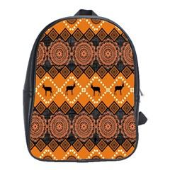 African Pattern Deer Orange School Bags (XL)