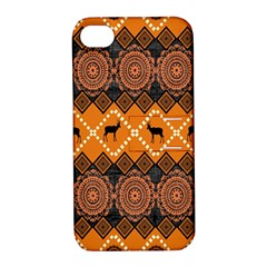 African Pattern Deer Orange Apple iPhone 4/4S Hardshell Case with Stand