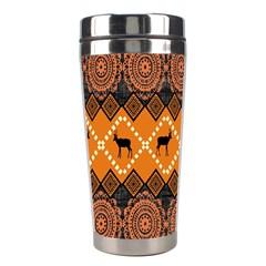 African Pattern Deer Orange Stainless Steel Travel Tumblers