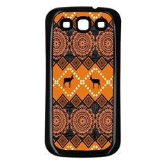 African Pattern Deer Orange Samsung Galaxy S3 Back Case (Black)