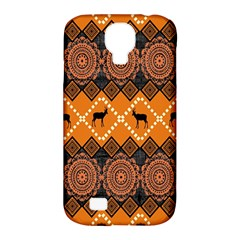 African Pattern Deer Orange Samsung Galaxy S4 Classic Hardshell Case (PC+Silicone)