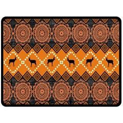 African Pattern Deer Orange Double Sided Fleece Blanket (Large)
