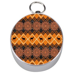 African Pattern Deer Orange Silver Compasses