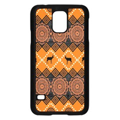 African Pattern Deer Orange Samsung Galaxy S5 Case (Black)