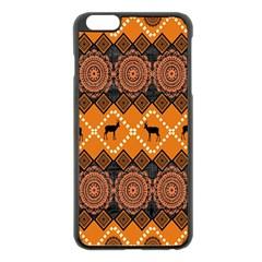 African Pattern Deer Orange Apple iPhone 6 Plus/6S Plus Black Enamel Case