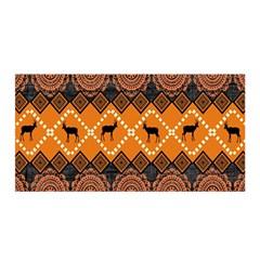 African Pattern Deer Orange Satin Wrap