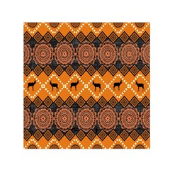 African Pattern Deer Orange Small Satin Scarf (Square)