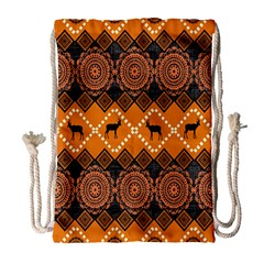 African Pattern Deer Orange Drawstring Bag (Large)