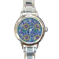 Color Variationssparkles Pattern Floral Flower Purple Round Italian Charm Watch
