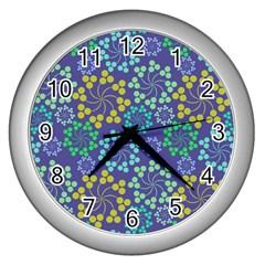 Color Variationssparkles Pattern Floral Flower Purple Wall Clocks (Silver)