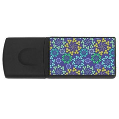 Color Variationssparkles Pattern Floral Flower Purple USB Flash Drive Rectangular (4 GB)
