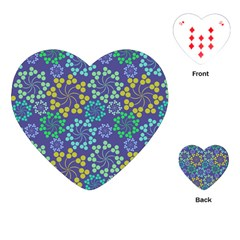Color Variationssparkles Pattern Floral Flower Purple Playing Cards (Heart)
