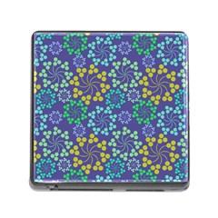 Color Variationssparkles Pattern Floral Flower Purple Memory Card Reader (Square)