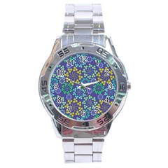 Color Variationssparkles Pattern Floral Flower Purple Stainless Steel Analogue Watch