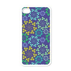 Color Variationssparkles Pattern Floral Flower Purple Apple iPhone 4 Case (White)