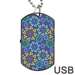Color Variationssparkles Pattern Floral Flower Purple Dog Tag USB Flash (Two Sides)
