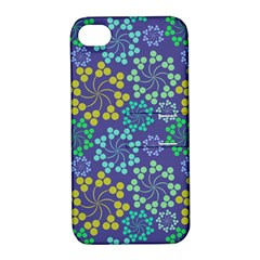 Color Variationssparkles Pattern Floral Flower Purple Apple iPhone 4/4S Hardshell Case with Stand