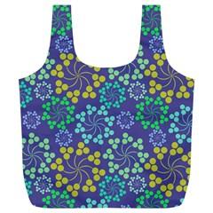 Color Variationssparkles Pattern Floral Flower Purple Full Print Recycle Bags (L)