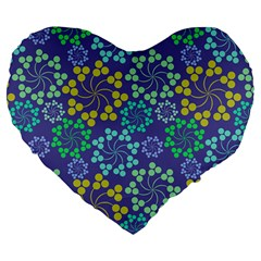 Color Variationssparkles Pattern Floral Flower Purple Large 19  Premium Flano Heart Shape Cushions