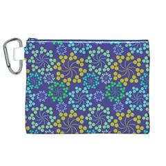 Color Variationssparkles Pattern Floral Flower Purple Canvas Cosmetic Bag (XL)