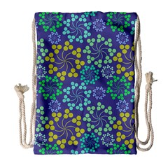 Color Variationssparkles Pattern Floral Flower Purple Drawstring Bag (Large)