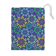 Color Variationssparkles Pattern Floral Flower Purple Drawstring Pouches (Extra Large)
